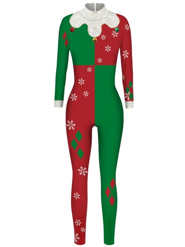 Women's Casual Long Sleeve Harley Quinn Christmas Jumpsuit