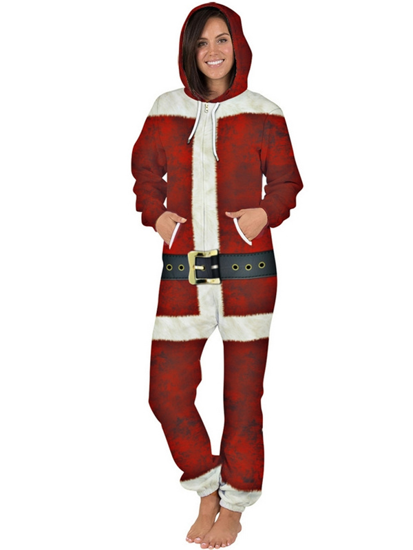Women's Casual Hooded Christmas Jumpsuit For Couples