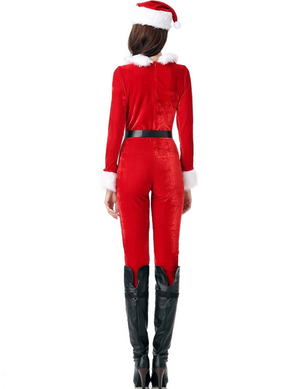 Women's Casual Round Neck Santa Claus Christmas Jumpsuit