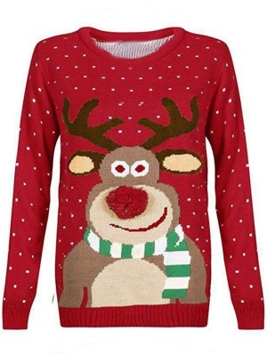 Women's Loose Deer Pattern Long Sleeve Christmas Sweater