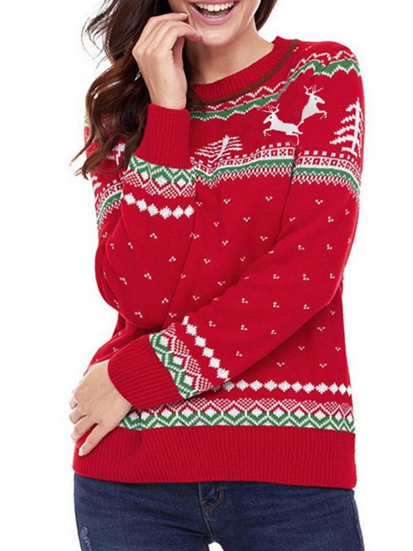 Women's Round Neck Deer Pattern Long Sleeve Christmas Sweater