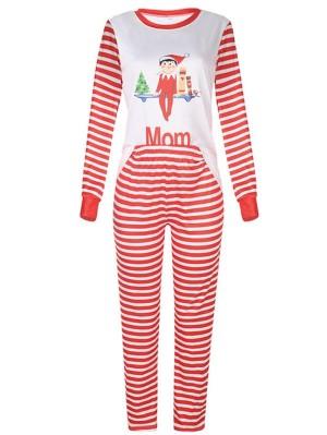 Christmas Family Matching Pajamas Top Striped Pant Christmas Jammies Set