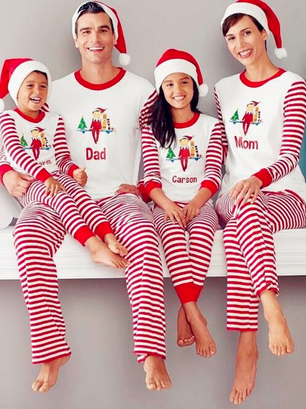 Christmas Family Matching Pajamas Top Striped Pant Christmas Jammies Set
