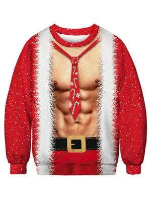 Funny 3D Print Long Sleeve Christmas Sweatshirt For Couples