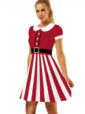 Women's Round Neck Print Short Sleeve Striped Christmas Dress