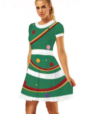 Women's Round Neck Print Short Sleeve Christmas Dress