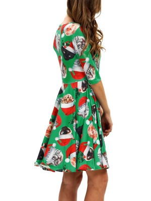 Women's Round Neck Cats Print Half Sleeve Christmas Dress