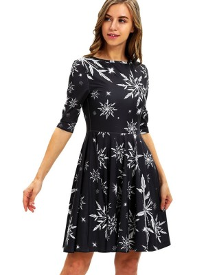 Women's Round Neck Snowflake Print Half Sleeve Christmas Dress