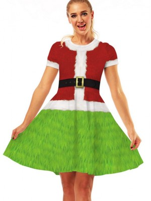 Women's Round Neck Grinch Print Short Sleeve Christmas Dress