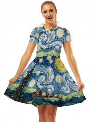 Women's Round Neck Starry Sky Print Short Sleeve Christmas Dress