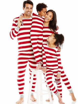 Red And White Striped Christmas Matching Family Pajamas Christmas Jammies Set