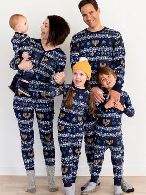 Christmas Matching Family Pajamas Candles Print Christmas Jammies Set