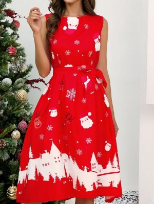 Fashion Round Neck Sleeveless Christmas Dress With Belt