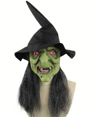 Halloween Green Horror Witch Mask Latex Mask With Grey Hair