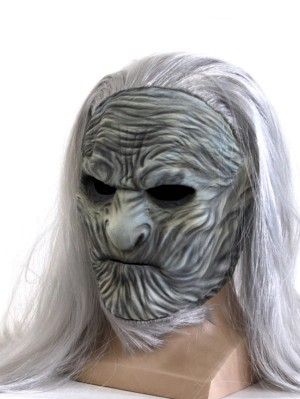 Game of Thrones Night King Mask With Long Hair Halloween Latex Mask